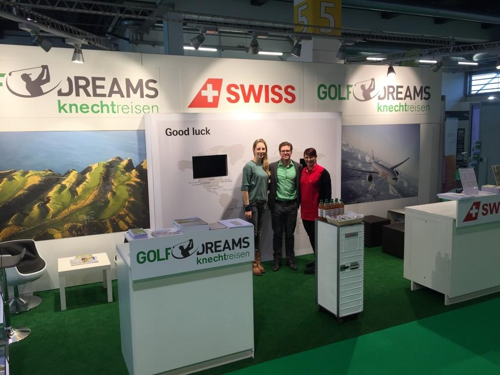 Florence Weiss, Cäsar Bolliger (Golf Dreams) und Corinne Vogt (SWISS Golf Traveller)
