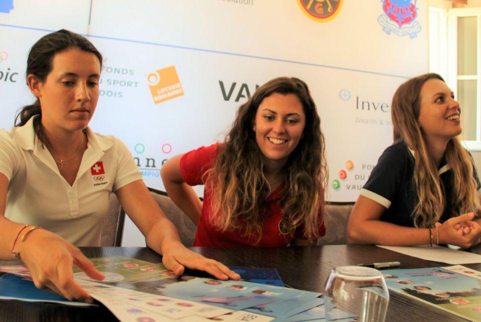 v.l. Albane Valenzuela, Morgane Métraux, Kim Métraux, Pressekonferenz Golf Europameisterschaft Damen 2017