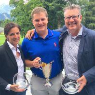 Drei Kategoriensiege und ein Clubmeistertitel für den Golfverband Liechtenstein: Cornelia Fassold (Netto Damen), Clubmeister Sebastian Schredt und Ralph Polligkeit
