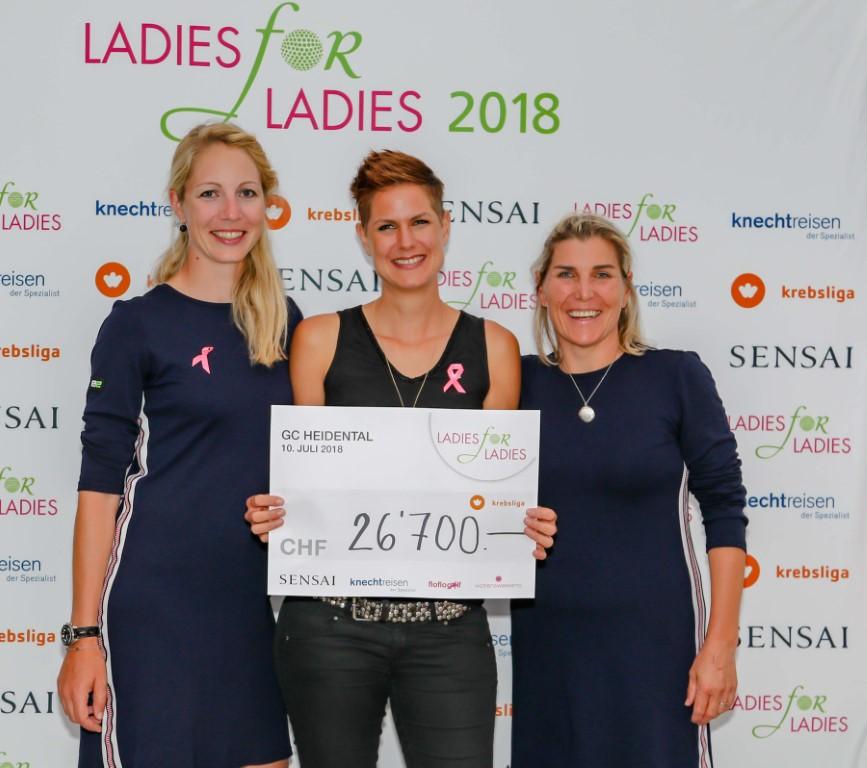 LADIES-for-LADIES-Botschafterinnen Florence Weiss (links) und Elisabeth Esterl (rechts) übergeben Oberärztin Dr. Christina Prevost den Spendencheck zugunsten der Krebsliga Schweiz. Foto: Köbi Schenkel