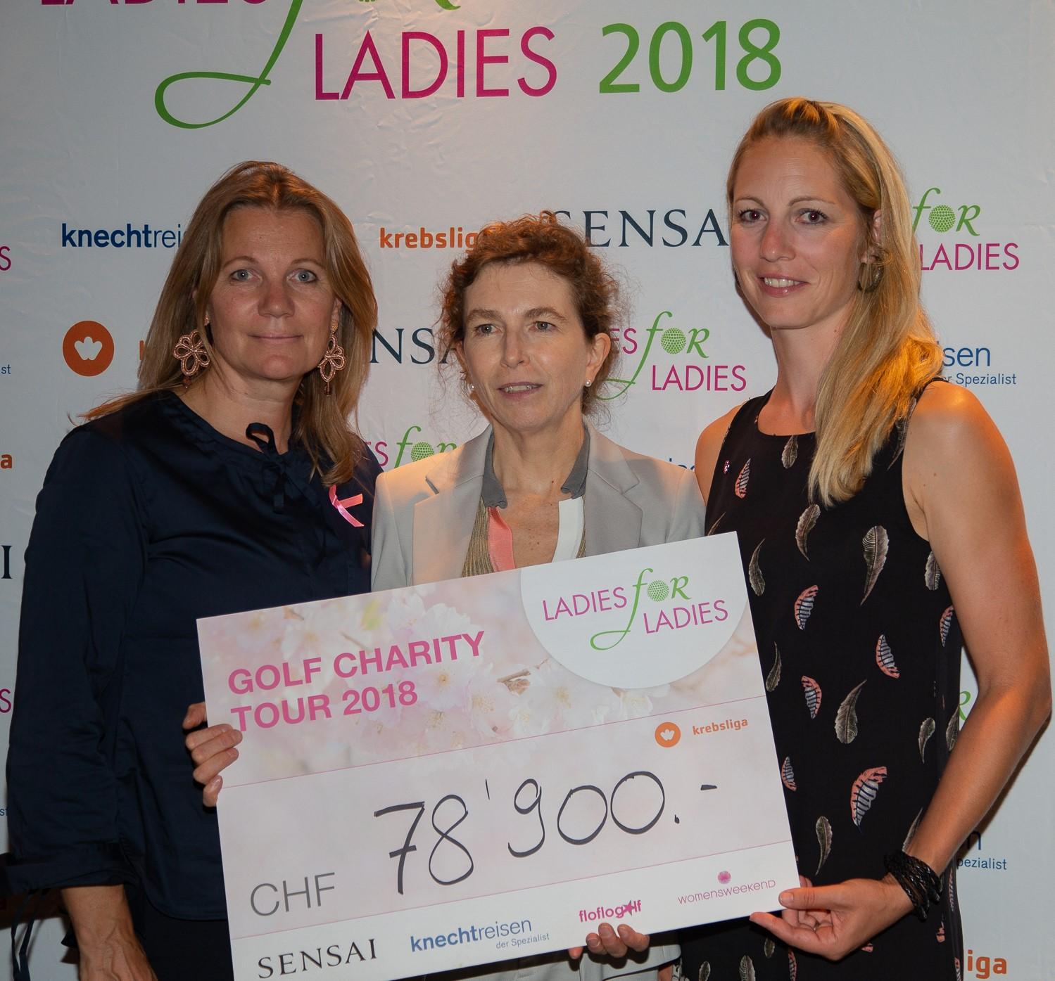 Anne Caroline Skretteberg (links) und Florence Weiss (rechts) übergeben den Spendencheck an Dr. Susanne Bucher.