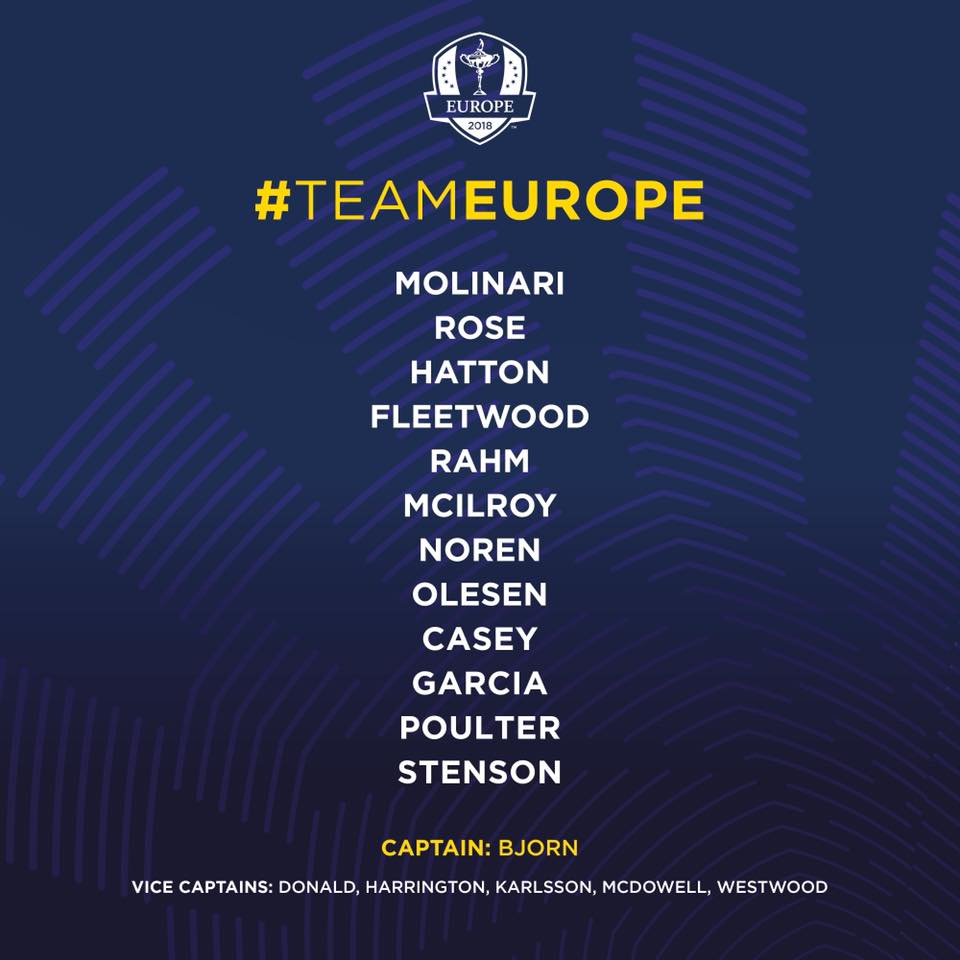 Ryder Cup 2018 Team Europe