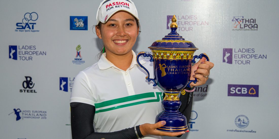 23/06/2019. Ladies European Tour 2019. Ladies European Thailand Championship, Phoenix Gold Golf & Country Club, Pattaya, Chonburi. 20-23 June 2019. Atthaya Thitikul of Thailand with her trophy. Credit: Tristan Jones