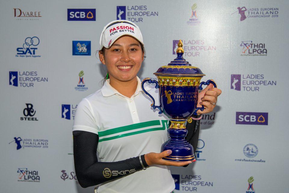 23/06/2019. Ladies European Tour 2019. Ladies European Thailand Championship, Phoenix Gold Golf & Country Club, Pattaya, Chonburi. 20-23 June 2019. Atthaya Thitikul of Thailand with her trophy. Credit: Tristan Jones